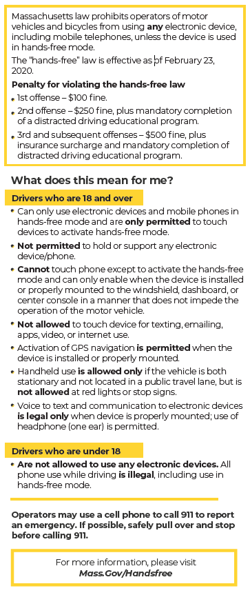Massachusetts Hands-Free Driving Law